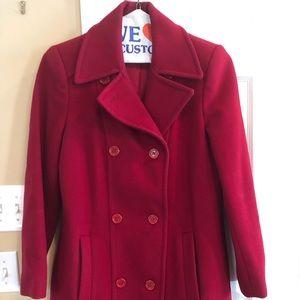 Women's Red Pea Coat